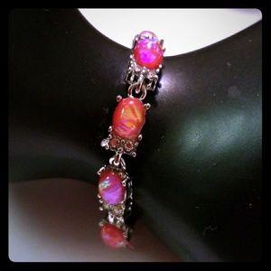 Pink Fire Created Opal Bracelet
